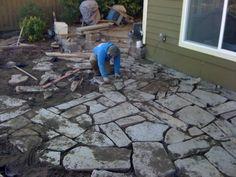 Flagstone construction process.  Contact sms for a quote! Superiormaintenancesolutions.com
