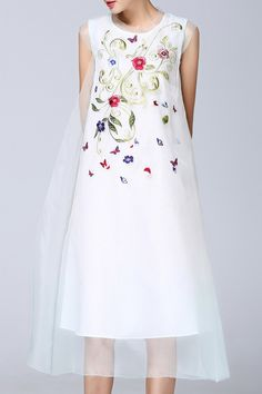 FENGYING.SS Organza See Through Embroidered Midi Dress