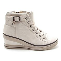 EpicStep Womens Beige High Top Wedges Shoes Belt Buckled Zip Lace Up Casual Fashion Sneakers 75 M US * Read more reviews of the product by visiting the link on the image.