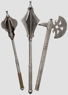 Two Maces and a Battleaxe 16th Century