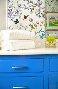 Butterfly Wallpaper and Dreamy Blue Cabinets