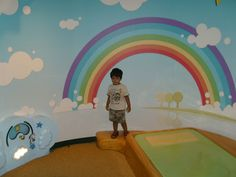 Rainbow Kids' Room. Get your bespoke mural from www.splatterkats.com