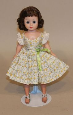 1950s Madame Alexander Bent Knee Cissette Doll Tagged Yellow & Green Print Dress