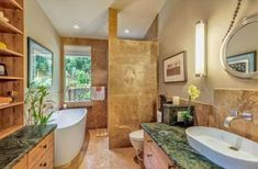 Hawaiian style bathroom - tropical decorating.