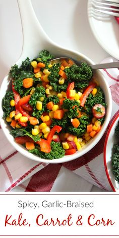 Spicy, Garlic-Braised Kale, Carrot and Corn Medley