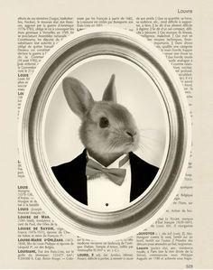 Affiche poster vintage portrait lapin format A4 : Affiches, illustrations, posters par digitalartparis