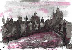 """Диптих """"Сказки старой Праги"""", картина, авторская графика, тушь – купить в интернет-магазине на Ярмарке Мастеров с доставкой - CHARNRU"""