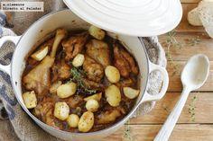 Guiso de pitu de caleya con patatinas. Receta asturiana
