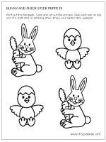 Step 1 Bunny and Chick Stick Puppets