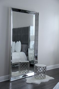 Mirror Leaning Floor Mirror With Stainless Steel Frame And A Small Chair Also No Foam Mat Underneath Leaning Floor Mirror Are Best Decoration That Can You Choose