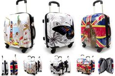 Hard Shell PC 4 Wheel Suitcase ABS Printed Cabin Travel Luggage Trolley Case