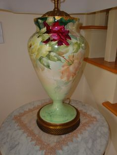 Antique Limoges France Hand Painted Porcelain Lamp Ca. 1900's Gorgeous