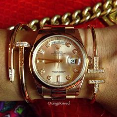 ultimate stack -- cartier just en clou, rolex and tiffany t