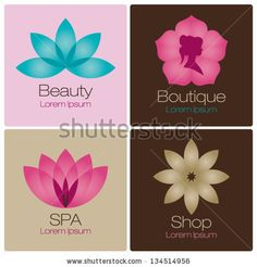 flowers design vector for spa, boutique, beauty salon, cosmetician, shop, yoga class, hotel and resort by newcorner, via ShutterStock