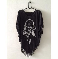 Fashion Pop Punk Indie Hippie Batwing Tussle Fringes Stone Wash Poncho
