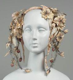 1840 Headpiece, American, made of silk ribbon.