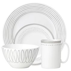 As lively and cosmopolitan as the historic London Street that inspired it, kate spade new york's Charlotte Street East Dinnerware is a rich blend of classic and modern. Beautifully crafted in grey and white porcelain it has a chic, timeless look.