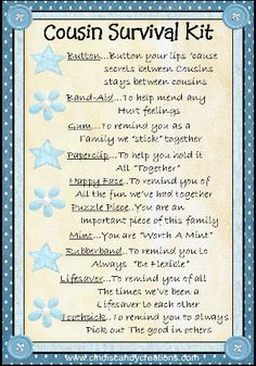 Cousin Survival Kit by CindisCandyCreations on Etsy, $1.99