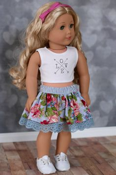 Doll Clothes Trendy Blue Floral and Lace SKIRT by Closet4Chloe