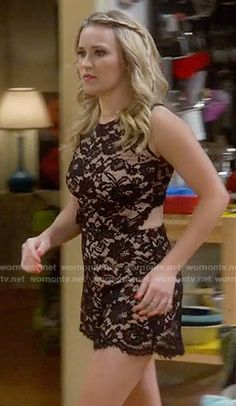 Gabi's black lace romper on Young and Hungry Fashion Tv, Star Fashion, Autumn Fashion, Emily Osment Style, Black Lace Romper, Young & Hungry, Woman Crush, Spring Outfits, Celebs