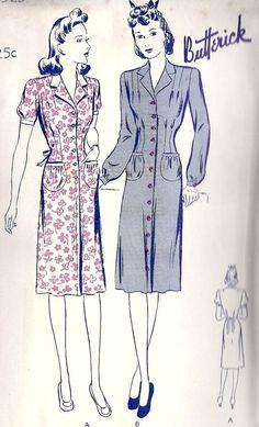 1940s Misses HouseDress Vintage Sewing Pattern