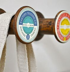 - Vintage Style Cotton Bobbin Wall Hook - (by the letteroom at Not on the High Street) or up cycle if you can! Clear Casting Resin, Wooden Ruler, Wooden Spools, Photo Software, Furniture Knobs, Glue Crafts, Diy Crafts, Drawer Pulls, Interior Accessories