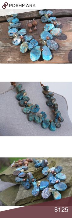 "Turquoise Calsilica Jasper Copper Tribal Necklace Chunky turquoise blue calsilica jasper with copper beads, tribal beads and crystals. Toggle clasp.  Length : Approximately 25""  Matching earrings are included.  Handmade / NWT / OOAK Rag'Ay! Jewelry Necklaces"