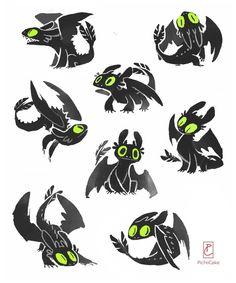 Night Fury Doodles by pichiicake.tumblr.com