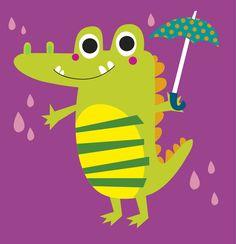 Cute crocodile holding umbrella