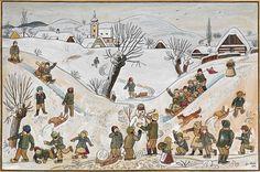 Czech winter theme, painted by the Czech painter Josef Lada Retro 2, My Heritage, Winter Theme, Czech Republic, Childrens Books, Folk Art, The Past, Clip Art, Africa