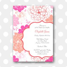 10 INVITATIONSannouncements baptism Dove girl-fully customizable color to choose pink and grey
