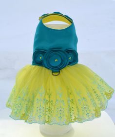 Spring Time Tutu Harness Dog Dress by KOCouture on Etsy  pet fashion, dog clothes, dog dress, tutu dress, harness dress, puppy, cute, small dog, teacup puppy, chihuahua, yellow dress, teal, bright, bold, ko couture, kelly owens, designer