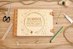 School  memories bookPhoto album Baby book Personalised School Memories, Baby Album, Handmade Gifts, Books, Etsy, Wood, Kid Craft Gifts, Libros, Baby Scrapbook