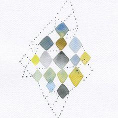 Aquarelle originale tableau d cor abstrait g om trique for Tableau geometrique pastel