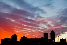 Des Moines Iowa skyline sunset from my loft steps
