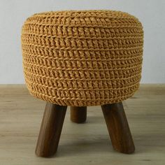 Stool with hand crocheted cover, pouf with 3 legs, round side table, footstool Ocher, gold yellow , mustard yellow, gold, yellow ocher, dark yellow