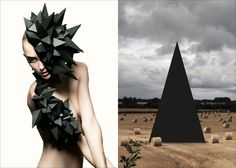MINI MOOD BOARD: BARBED. Photo by Diego Diaz, headpiece by Federica Moretti paired with installation by Depart. #nancyherrmann #moodboard #barbed