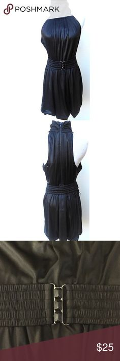 Black Satin Bubble Dress High Neck Halter Pre owned Twelve By Twelve Los Angeles Brand dress, Excellent used condition. Belt included as shown in pictures. Dresses Midi