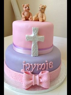 First Communion Cakes for Girls Religious Cakes, First Communion Cakes, Baptism Ideas, Girl Cakes, Chocolate Fudge, Some Ideas, Birthday Cakes, Christening, Baby Shower