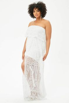 ca9f6732748 Plus Size Sheer Embroidered Maxi Skort Tube Romper - White - The May Edit - Trending  Now - Style guide