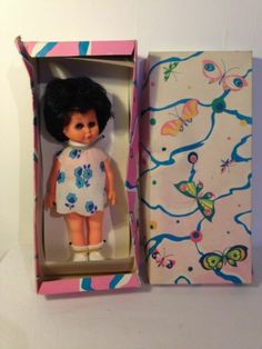Vintage German Doll 1980's? 1970's Boxed wearing dress plastic vinyl? Lipu Dark  Box says Made in GDR German Democratic Republic and a logo with 'Lipu' written on it. She is wearing a dress with blue flowers , knickers, socks and shoes. Her body feels like rigid plastic but her head is a bit softer. I don't know if this is vinyl. 4.99+2.6