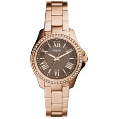 Women's Fossil 'Cecile' Top Ring Bracelet Watch ($140) ❤ liked on Polyvore featuring jewelry, watches, crystal watches, polish jewelry, crystal jewellery, watch bracelet and fossil jewelry