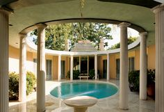 The pool surrounded by Doric columns in the house John Woolf designed for Alphonzo Bell Jr. Today the house is owned by Sue Mengers