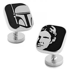 Show your love for the Solo-and-Fett duo by wearing the Cufflinks Inc. Han Solo and Boba Fett Cufflinks. Officially licensed by Lucasfilm LTD Fixed logo backing Plated base metal with enamel. Star Wars Luke, Star Wars Han Solo, Designer Cufflinks, Star Wars Gifts, Star Wars Characters, Boba Fett, Caps For Women, Black Star, Groomsman Gifts