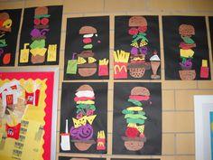 Hamburger artwork around bulletin board.  Great fun!
