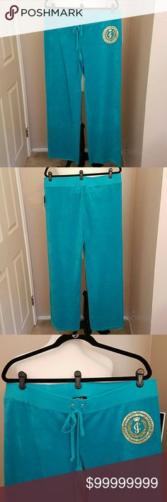 "💙NEW💚JUICY COUTURE ORIGINAL PANTS JUICY COUTURE( Black Label)~ velour pant in tantalizing teal with the 'JC' logo on the left hip in gold💥 with BLING💎 baby!  Approx. 33"" inseam...78% cotton 22% polyester.  No pockets on the back or hardware detail on the drawstrings...it's all about that TEAL color and that GOLD medallion graphic❣ *Comes in the original retail packaging. JUICY COUTURE  Pants Straight Leg"