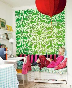 Green otomi fabric from Cookie magazine