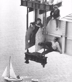 Workers take a break during the construction of the Auckland Harbour Bridge, Auckland, Vintage Photographs, Vintage Photos, Take A Break, Take That, Harbour Bridge, Once In A Lifetime, Retro, Vintage Ads