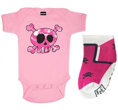Camo Skull One Piece and Pink Skull Socks Set