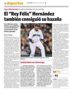 Félix Hernández entró al libro de los récords de la MLB. Es el décimo octavo pitcher que guillotina a cuatro bateadores consecutivos en un mismo episodio. Publicado el 5 de junio de 2010.